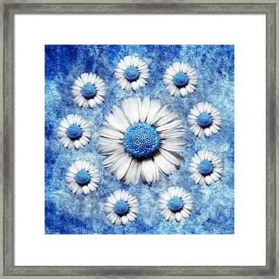 La Ronde Des Marguerites - Blue V05 Framed Print by Variance Collections