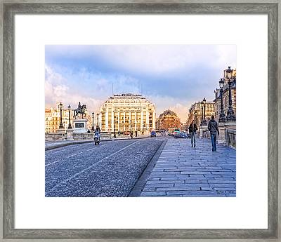 La Samaritaine - View From The Pont Neuf - Paris Framed Print