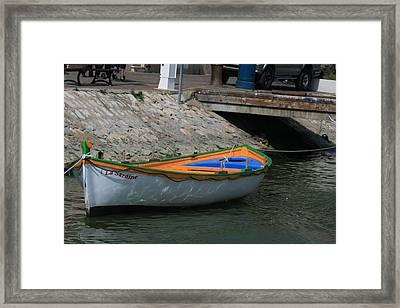 Boat   La Sardine  Framed Print by Phoenix De Vries