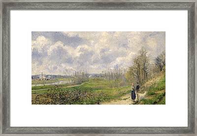 La Sente Du Chou Near Pontoise Framed Print by Camille Pissarro
