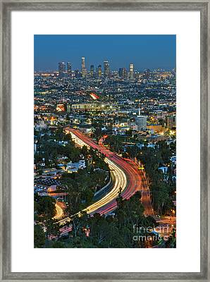 La Skyline Night Magic Hour Dusk Streaking Tail Lights Freeway Framed Print