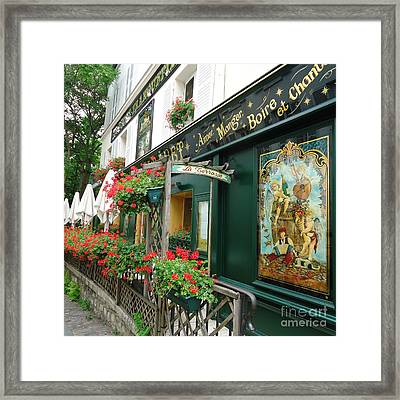 La Terrasse In Montmartre Framed Print by Barbie Corbett-Newmin