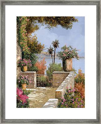 La Terrazza Un Vaso Due Palme Framed Print by Guido Borelli