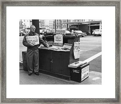 La Times Newspaper Stand Framed Print by Underwood Archives