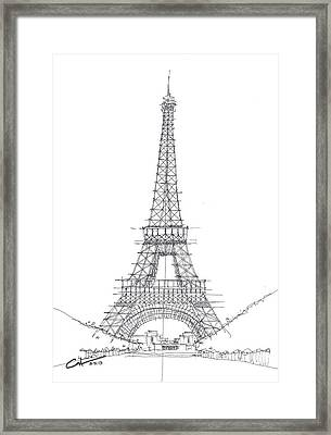 Framed Print featuring the drawing La Tour Eiffel Sketch by Calvin Durham