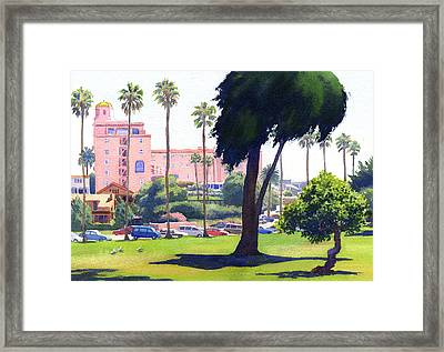 La Valencia Hotel And Cypress Framed Print by Mary Helmreich