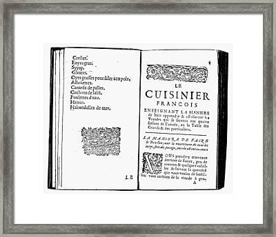 La Varenne Cookbook, 1686 Framed Print