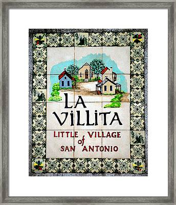 La Villita Tile Sign On The Riverwalk San Antonio Texas Watercolor Digital Art Framed Print by Shawn O'Brien