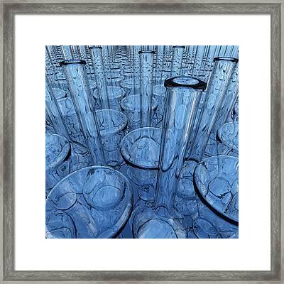 Lab Glassware In Blue Framed Print