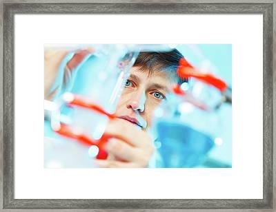 Lab Technician Working Framed Print