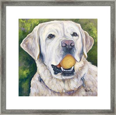 Lab With Orange Ball Framed Print