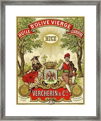 Label For Vercherin Extra Virgin Olive Oil Framed Print by French School