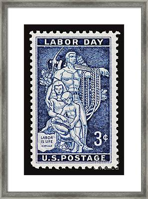 Labor Day Vintage Postage Stamp Print Framed Print by Andy Prendy
