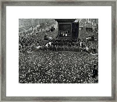 Labor Movement. Transport Workers Strike. Meeting In Trafalgar Square 1912. London. England Framed Print by Bridgeman Images