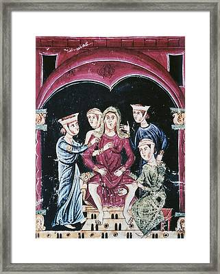 Labor. Woman Giving Birth And Four Framed Print