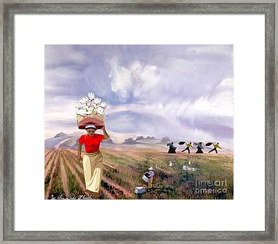 Laboring In The Fields Framed Print