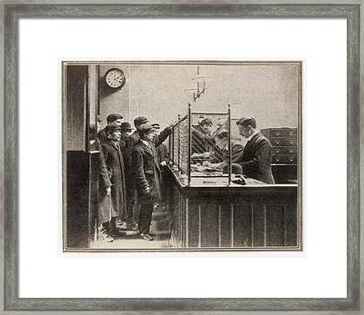 Labour Exchange At Camberwell Green Framed Print by  Illustrated London News Ltd/Mar