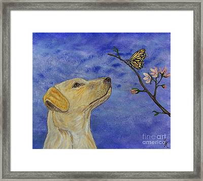 Framed Print featuring the painting Labrador Enchanted by Ella Kaye Dickey