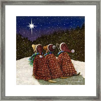 Labs Under The Christmas Star Framed Print by Kathleen Harte Gilsenan