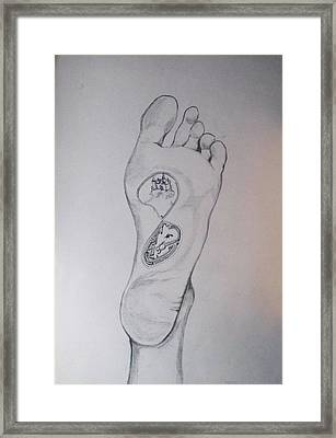 Framed Print featuring the drawing Labyrinth Foot Pie Laberinto by Lazaro Hurtado