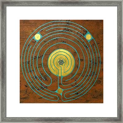 Labyrinth W Sun Labyrinth Center Framed Print by Folade Speaks