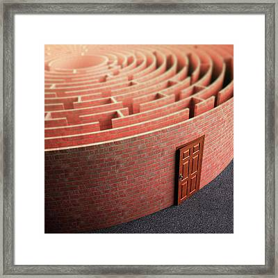 Labyrinth With A Door Framed Print by Ktsdesign