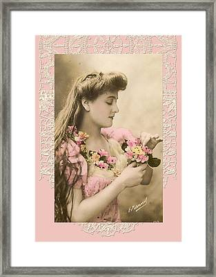 Lace And Poisies Victorian Lady Framed Print by Denise Beverly