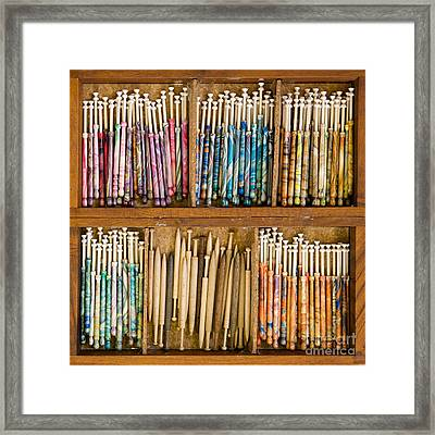 Lace Bobbins Framed Print by Liz  Alderdice