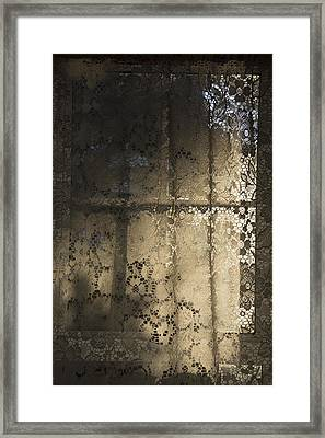 Framed Print featuring the photograph Lace Curtain 1 by Jocelyn Friis