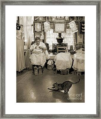 Framed Print featuring the photograph Lace Lady Of Burano-bw by Jennie Breeze