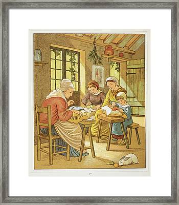 Lace Makers Of Caen Framed Print