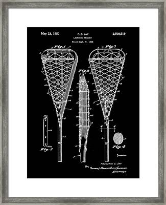 Lacrosse Stick Patent 1948 - Black Framed Print by Stephen Younts