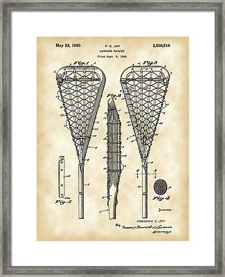 Lacrosse Stick Patent 1948 - Vintage Framed Print by Stephen Younts