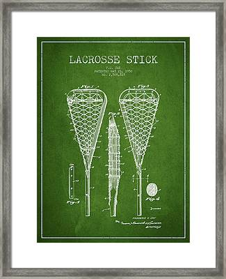 Lacrosse Stick Patent From 1950- Green Framed Print by Aged Pixel