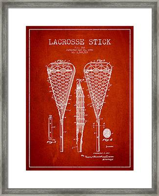 Lacrosse Stick Patent From 1950- Red Framed Print by Aged Pixel