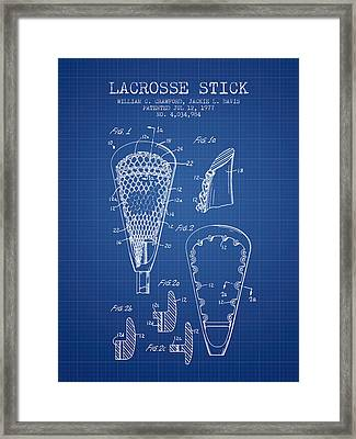 Lacrosse Stick Patent From 1977 -  Blueprint Framed Print by Aged Pixel
