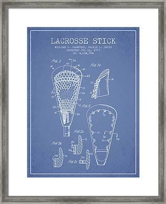 Lacrosse Stick Patent From 1977 -  Light Blue Framed Print