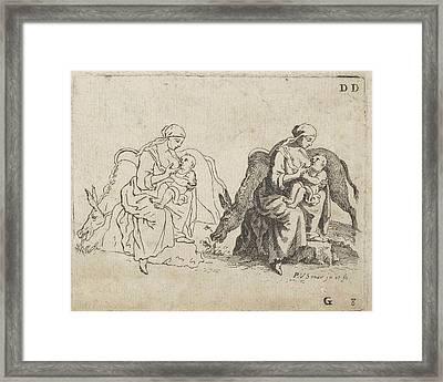 Lactating Mother With A Donkey, Paul Van Somer II Framed Print