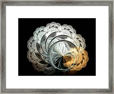 Lacy Fractal Framed Print by Lea Wiggins