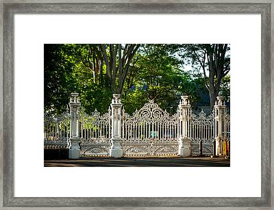 Lacy Gates And Fence Of The Pamplemousse Botanical Garden. Mauritius Framed Print