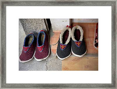 Ladakh, India Traditional Fabric Shoes Framed Print by Jaina Mishra