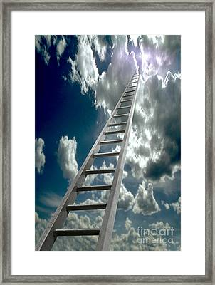 Ladder Ascending Into The Clouds Framed Print by Mike Agliolo