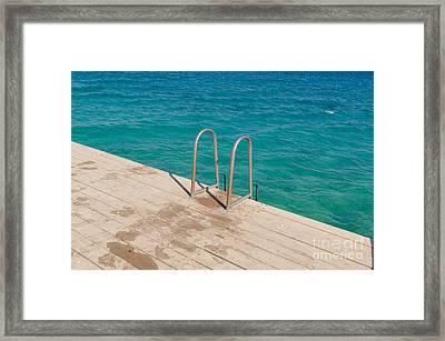 Ladder On A Wooden Bridge Framed Print by Nikita Buida