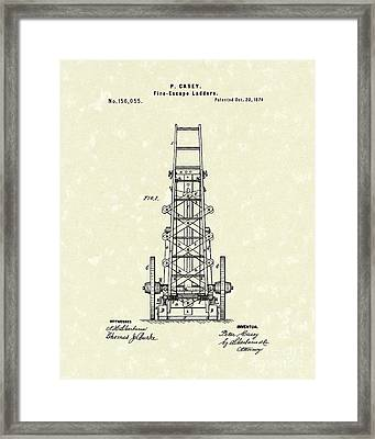 Ladders 1874 Patent Art Framed Print by Prior Art Design