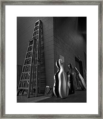 Ladders And Cello Cases Framed Print by Adrian Mendoza