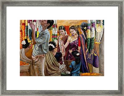 Ladies At The Flower Market In India Framed Print by Dominique Amendola