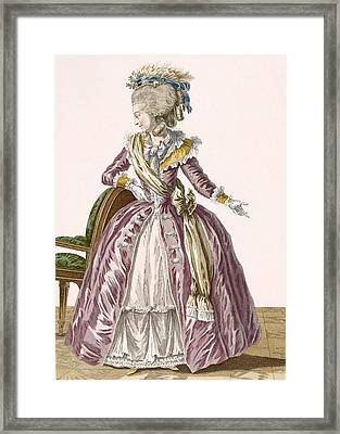 Ladies Burgundy Gown With White Framed Print by Pierre Thomas Le Clerc