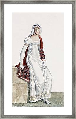 Ladies Day Dress, 1811 Framed Print by Pierre de La Mesangere