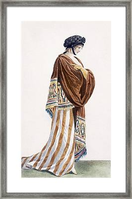 Ladies Dress With Velvet Shawl Framed Print by Pierre de La Mesangere