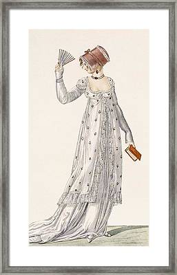Ladies Evening Dress, Fashion Plate Framed Print by English School